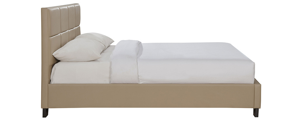 Lit adulte moderne 160 x 200 cm taupe SOLAL