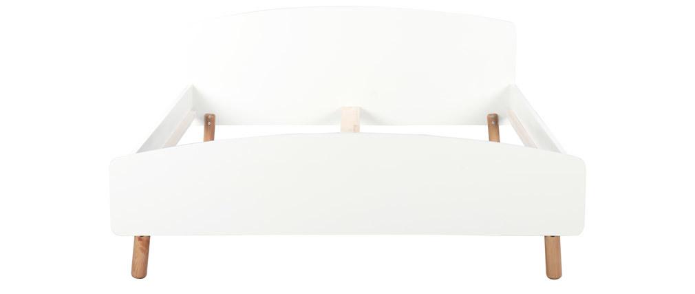 Lit adulte scandinave 160 x 200 cm bois et blanc NEA