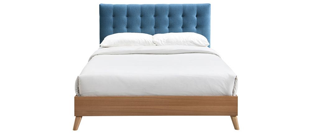 Lit adulte scandinave bois et bleu canard 160 x 200 cm LYNN