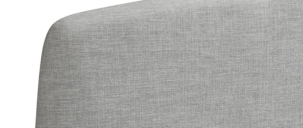 Lit adulte scandinave tissu gris clair et bois 160 x 200 cm NIELS