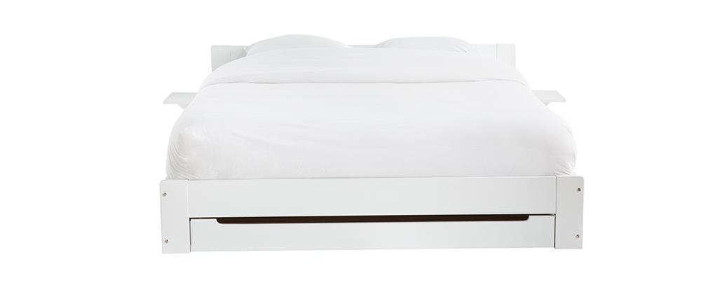 Lit avec tiroir rangement et chevets blanc 160 x 200 cm LORIS