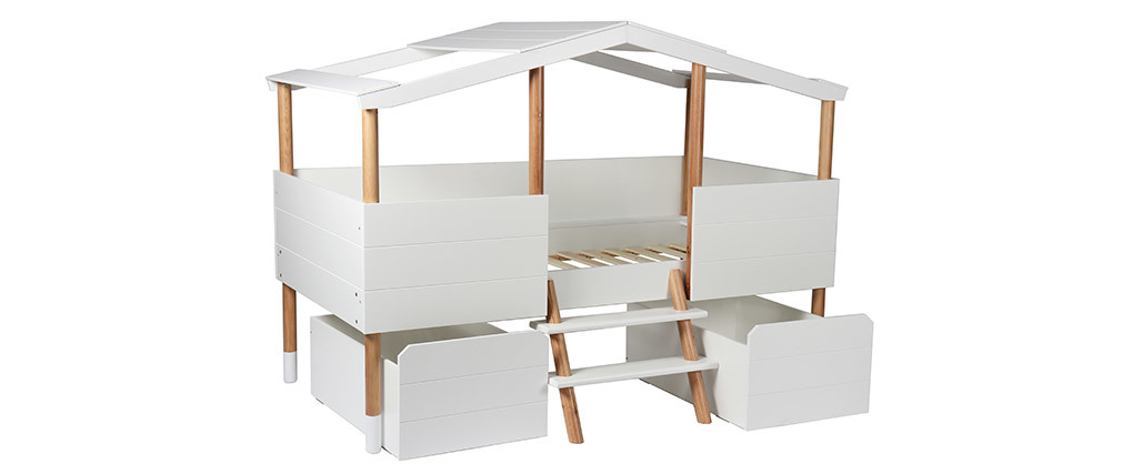 Lit cabane enfant avec sommier 90 x 190 cm PILOTI