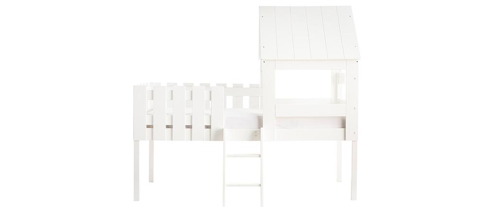 Lit cabane enfant avec sommier en bois blanc NESTY HOUSE