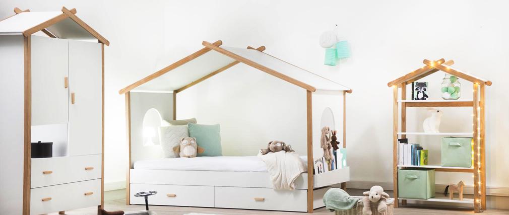 Lit cabane enfant avec tiroirs design BIRDY