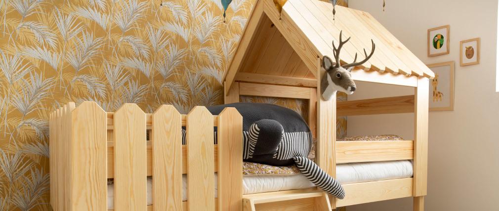 Lit cabane enfant en pin massif blanc LITTLE HOUSE