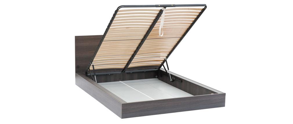 Lit coffre 140x200 cm et tête de lit avec rangements SIRIUS