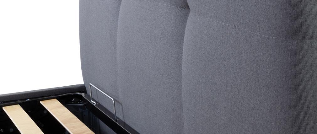 Lit coffre 160 x 200 cm en tissu gris SOGNO