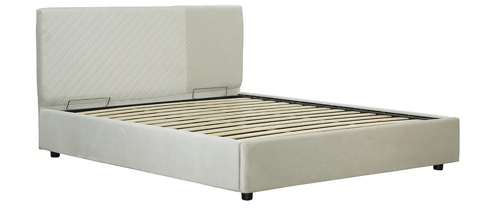 Lit coffre avec sommier et tête de lit à motif en velours beige 160 x 200 cm RIGA