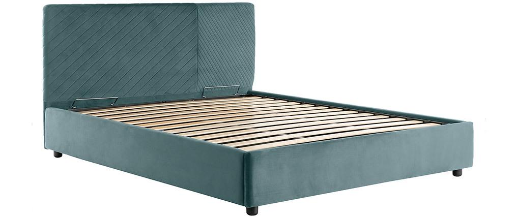 Lit coffre avec sommier et tête de lit à motif en velours bleu paon 160 x 200 cm RIGA