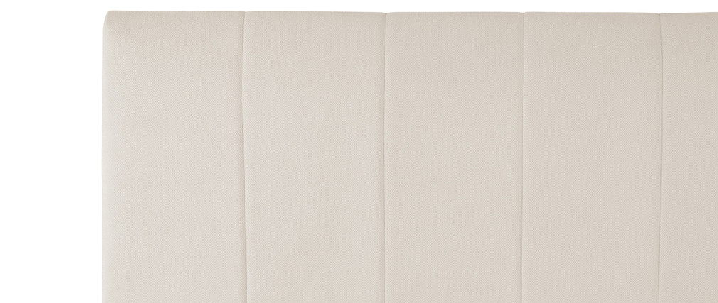 Lit coffre design 160 x 200 cm effet velours beige MACHA
