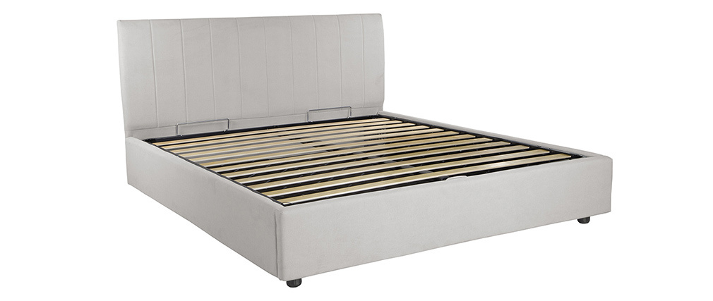 Lit coffre design 160 x 200 cm effet velours gris clair MACHA