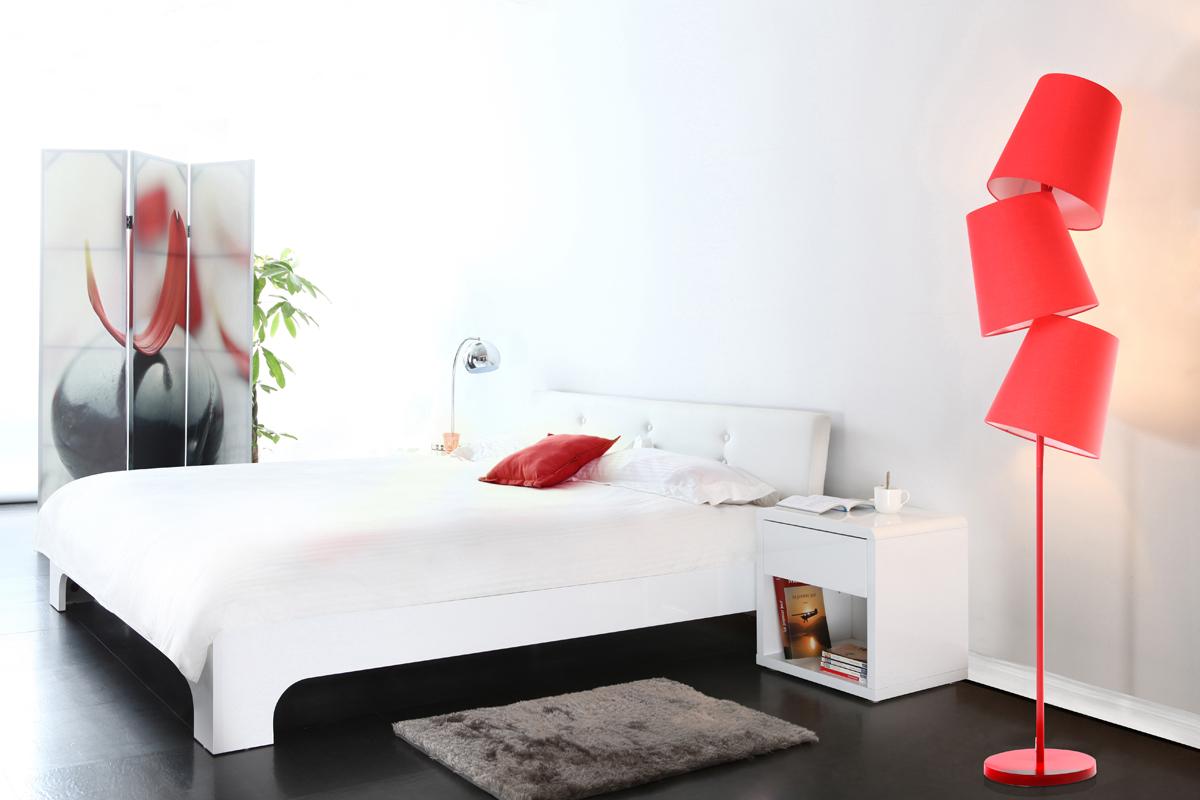 lit design laqu blanc 2 personnes 140x190 eliah miliboo. Black Bedroom Furniture Sets. Home Design Ideas