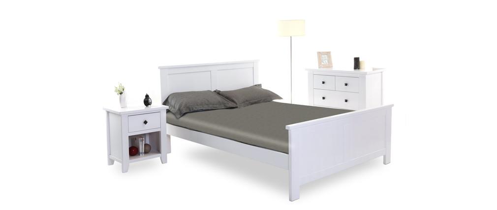 lit design laqu blanc 2 personnes 140x190 hampton miliboo. Black Bedroom Furniture Sets. Home Design Ideas