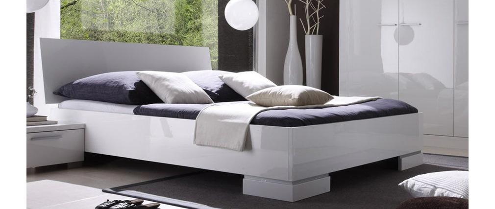 Lit Design Laqué Blanc 2 Personnes 160x200 NETTA