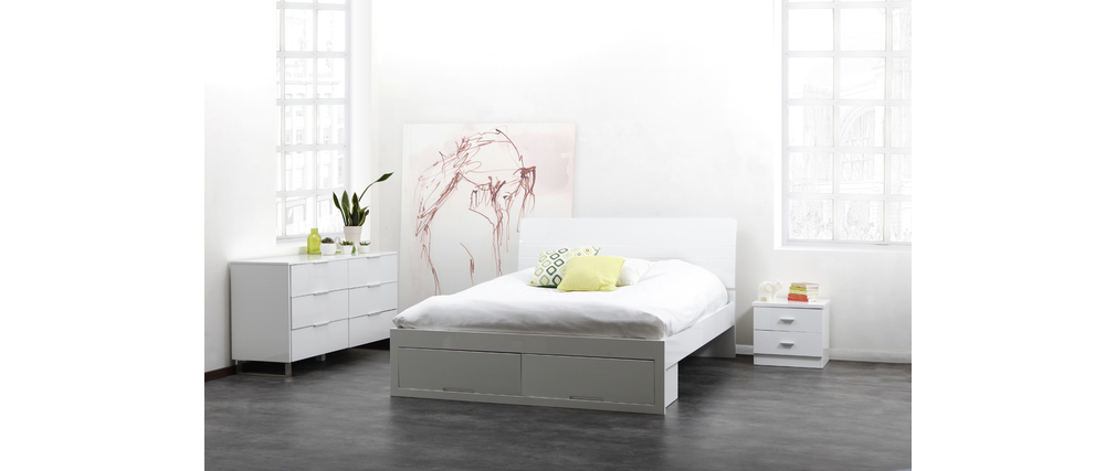 lit design laqu blanc 2 personnes 160x200 noha miliboo. Black Bedroom Furniture Sets. Home Design Ideas