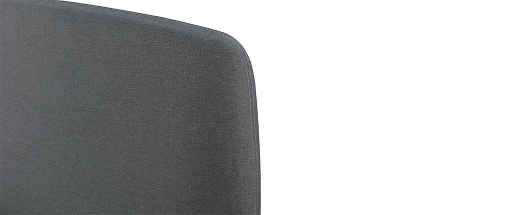 Lit design tissu gris et bois 160 x 200 NIELS