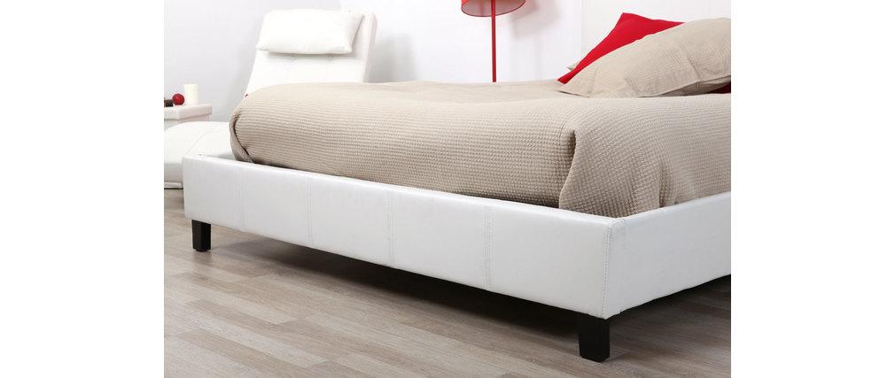 lit deux personnes 160 200 blanc ezio miliboo. Black Bedroom Furniture Sets. Home Design Ideas