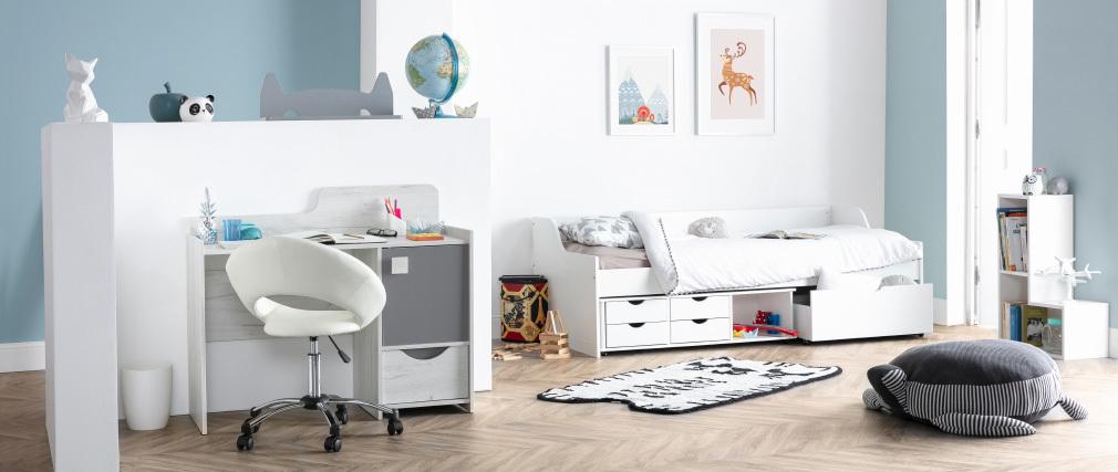 lit enfant tiroirs 90x190 blanc cleo miliboo. Black Bedroom Furniture Sets. Home Design Ideas