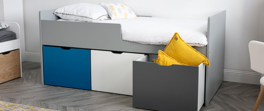 Lit enfant à tiroirs 90x190 cm bleu, blanc et gris JULES