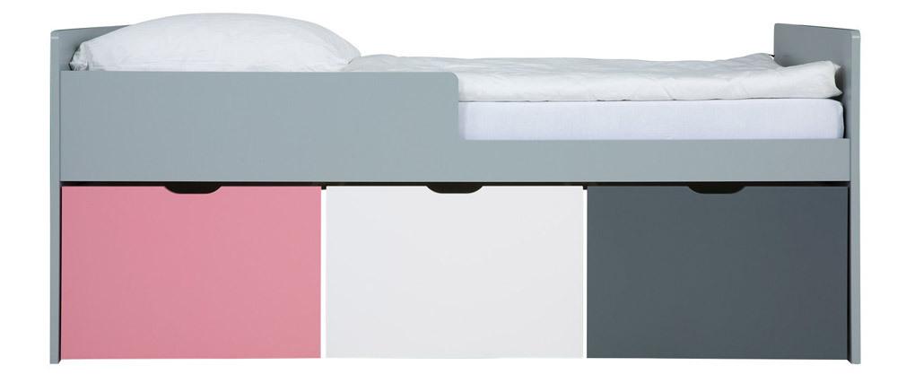 Lit enfant à tiroirs 90x190 cm rose, blanc et gris JULES
