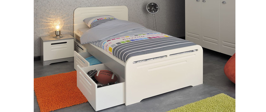 lit enfant avec 3 tiroirs de rangements effet m tal blanc locker miliboo. Black Bedroom Furniture Sets. Home Design Ideas
