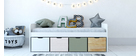Lit enfant avec rangements 4 tiroirs bois, blanc et vert MOLENE