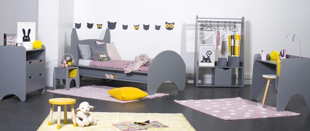 Lit enfant avec tiroir laqué gris mat 90x190 KIDDO