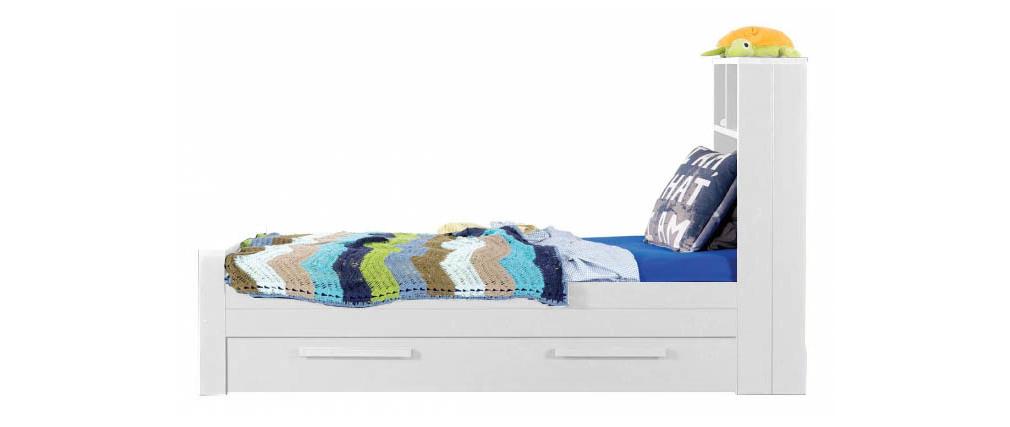 lit enfant en pin blanc avec sommier et tiroir de rangement malo miliboo. Black Bedroom Furniture Sets. Home Design Ideas