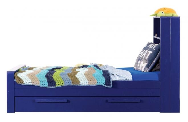 lit enfant en pin bleu avec sommier et tiroir de rangement malo miliboo. Black Bedroom Furniture Sets. Home Design Ideas