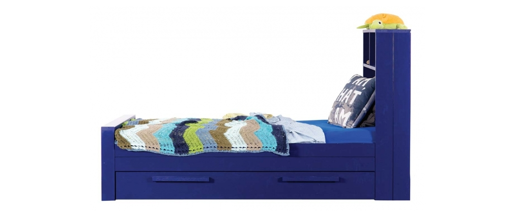 Lit enfant en pin bleu avec sommier et tiroir de rangement - Sommier avec rangement ...