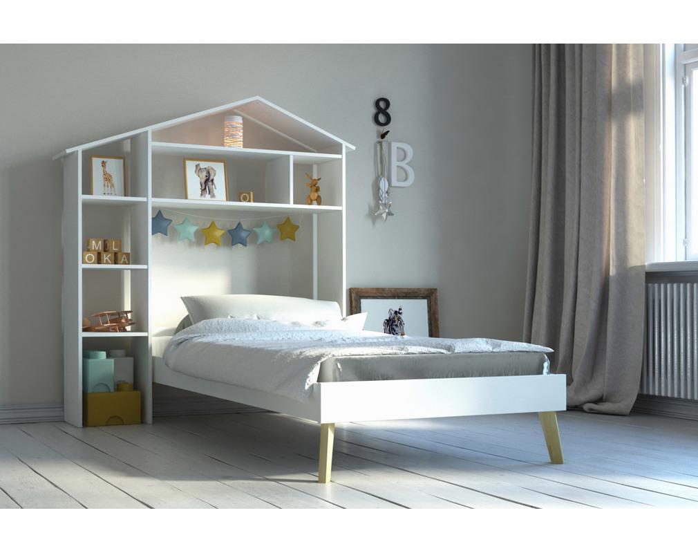 Lit enfant et tête de lit avec rangements HOME - Miliboo