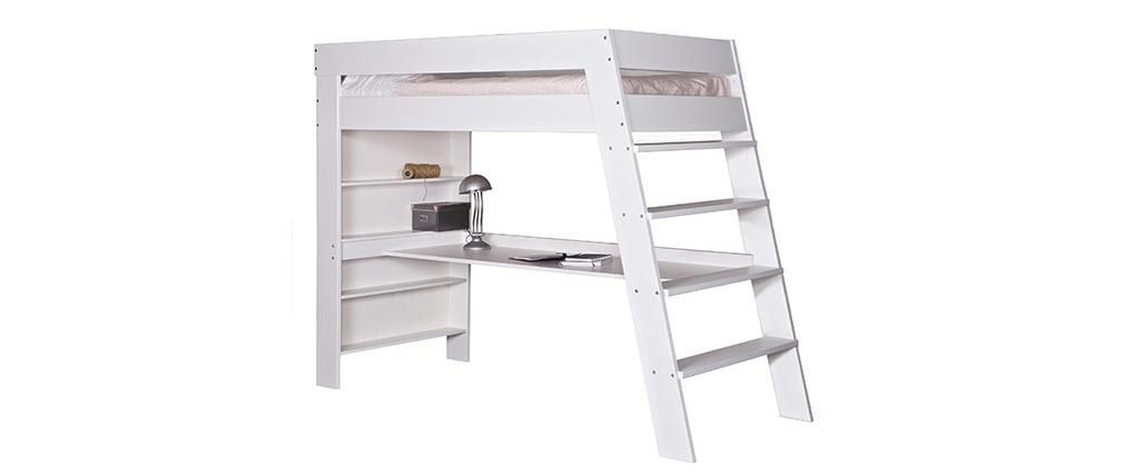 lit enfant sur lev avec bureau bois blanc erwan miliboo. Black Bedroom Furniture Sets. Home Design Ideas