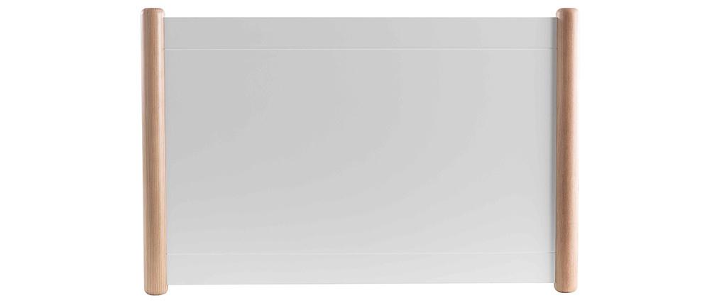 Lit gigogne blanc et bois 90 cm SIAMOI