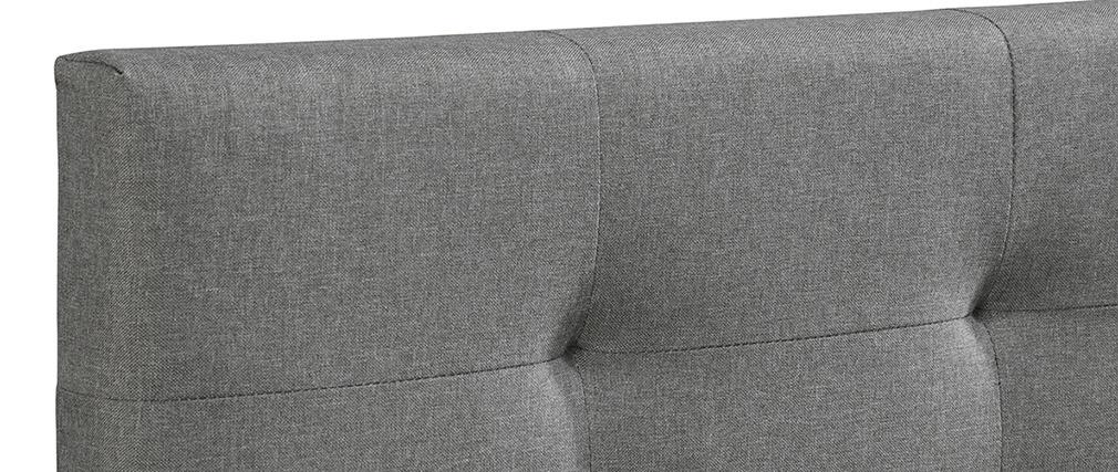 Lit King Size en tissu gris capitonné 180 x 200 cm MARQUISE