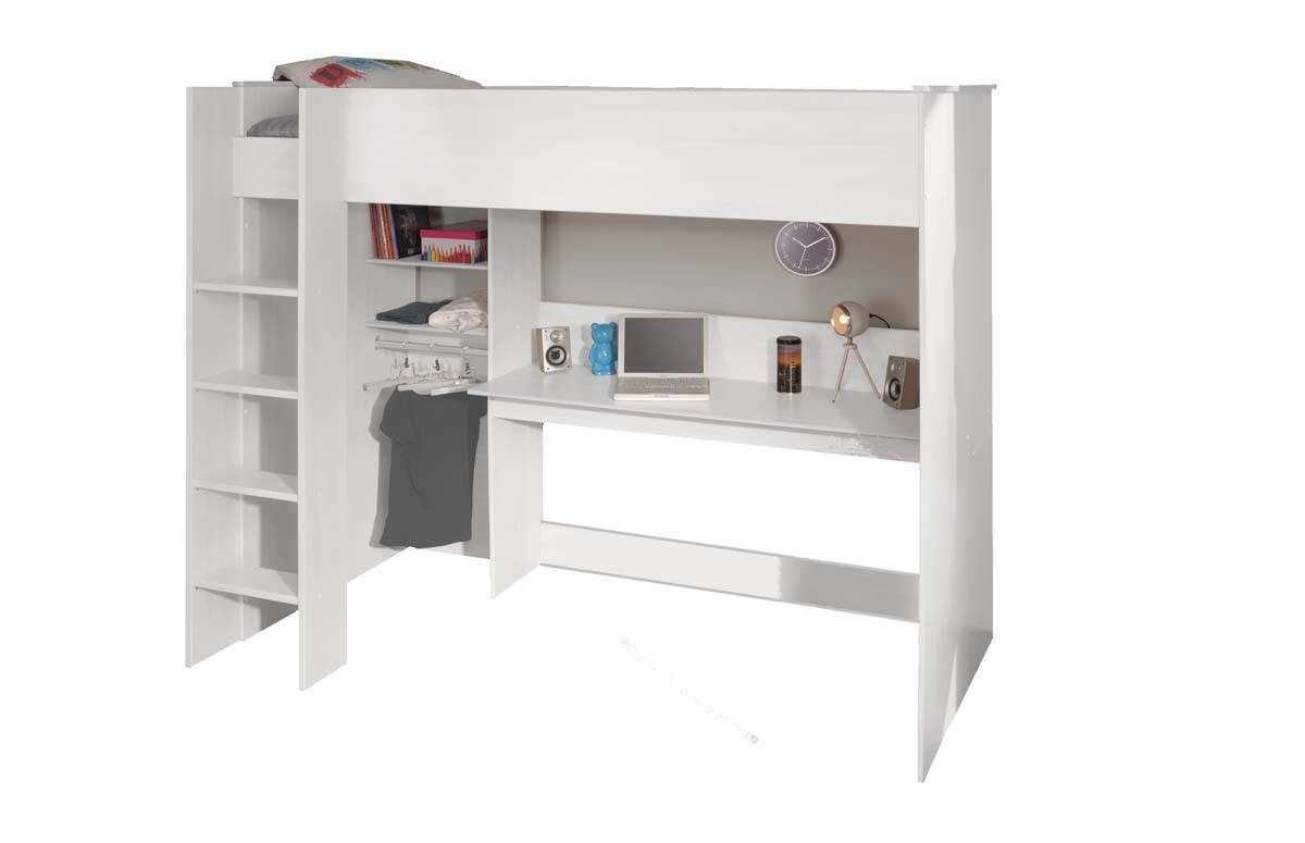 lit mezzanine blanc 90x200 cm pablo miliboo. Black Bedroom Furniture Sets. Home Design Ideas