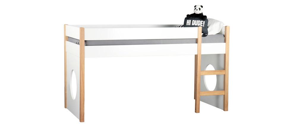 Lit mezzanine enfant avec panneaux amovibles blanc et bois clair ALTO