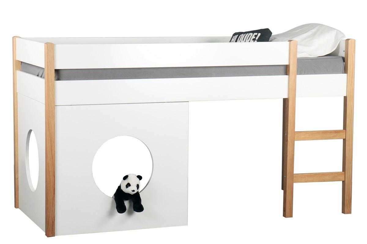 Lit Mezzanine Pas Haut lit mezzanine enfant avec panneaux amovibles blanc et bois