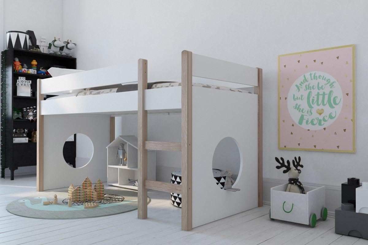 Lit Mezzanine Enfant Avec Panneaux Amovibles Blanc Et Bois