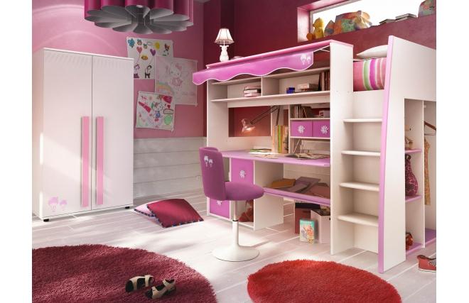 Lit mezzanine enfant rose et blanc marchande miliboo - Lit mezzanine ado fille ...