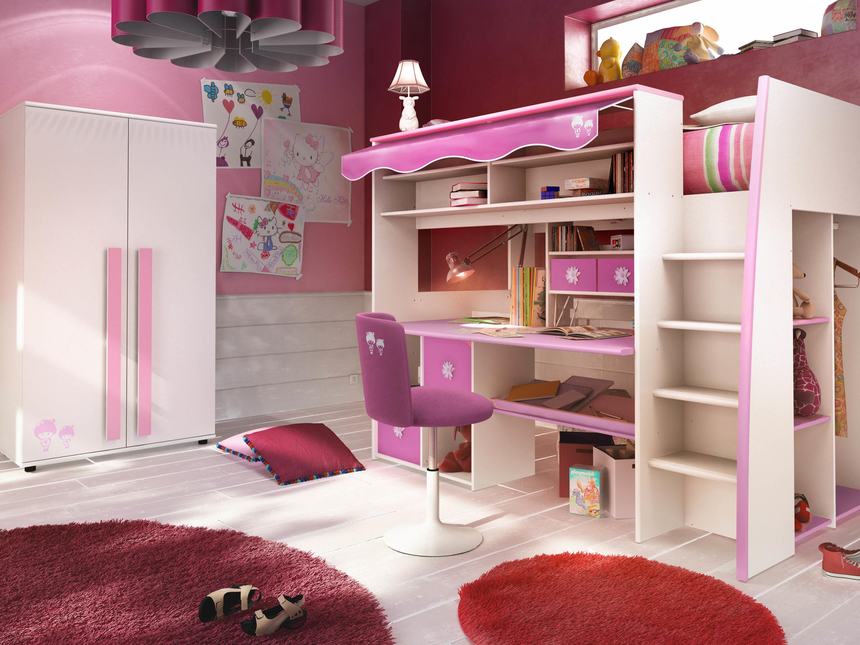 Lit mezzanine enfant rose et blanc marchande miliboo - Lit mezzanine enfant design ...