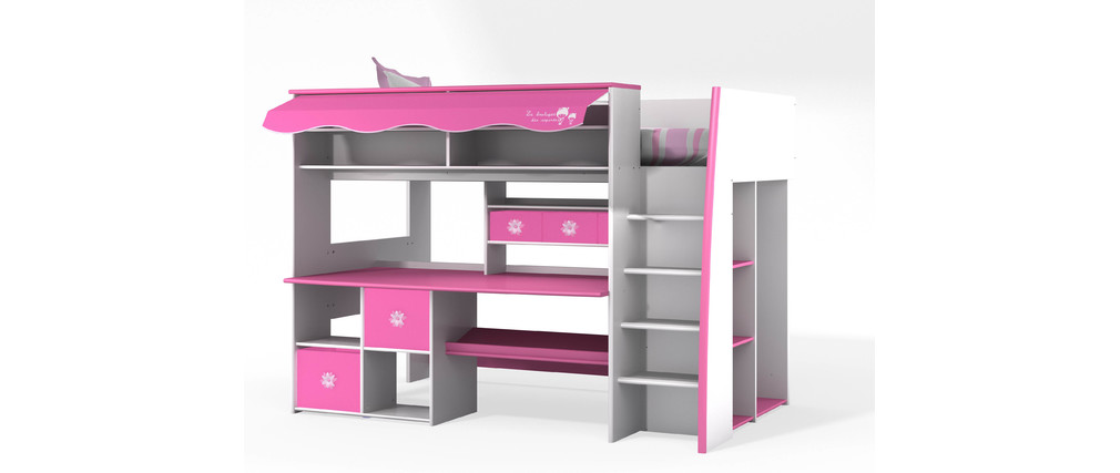 lit mezzanine enfant rose et blanc marchande miliboo. Black Bedroom Furniture Sets. Home Design Ideas