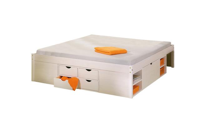 lit multi rangements 140x190 blanc tiego miliboo. Black Bedroom Furniture Sets. Home Design Ideas