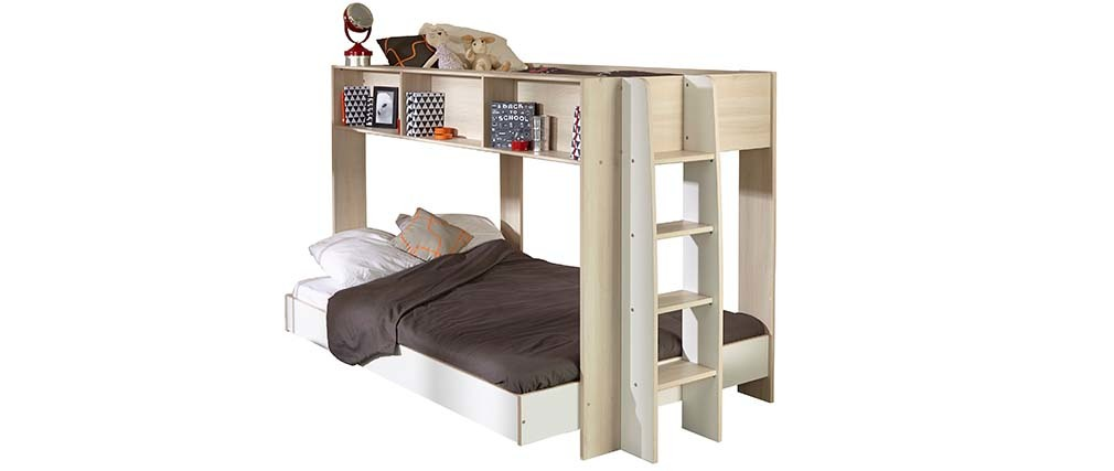 lit superpos design blanc et bois twin miliboo. Black Bedroom Furniture Sets. Home Design Ideas