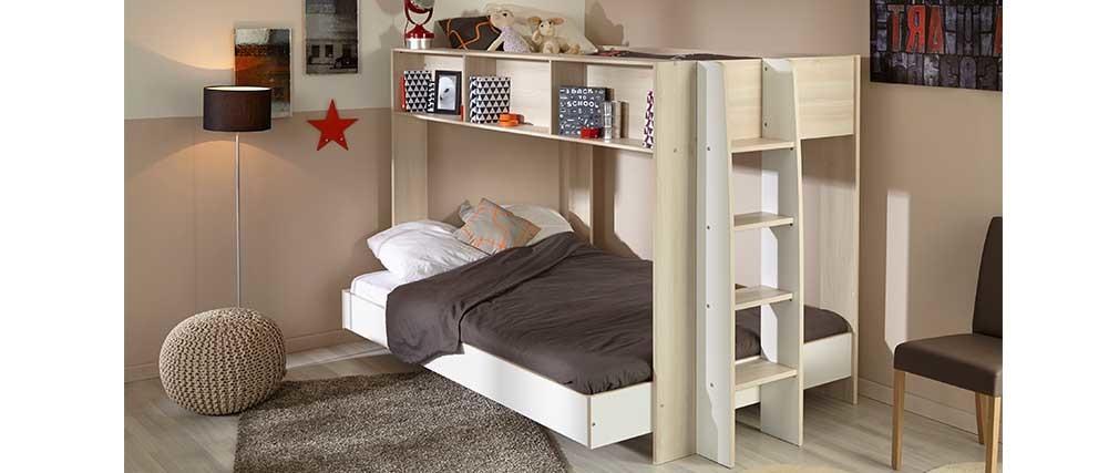 lit superpos design blanc et bois twin miliboo. Black Bedroom Furniture Sets. Home Design Ideas