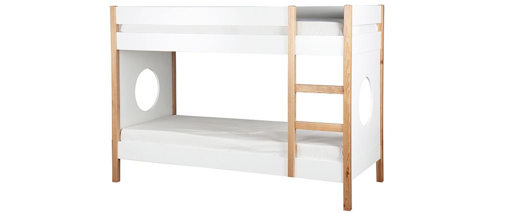 Lit superposé enfant avec panneaux amovibles bois clair et blanc ALTO
