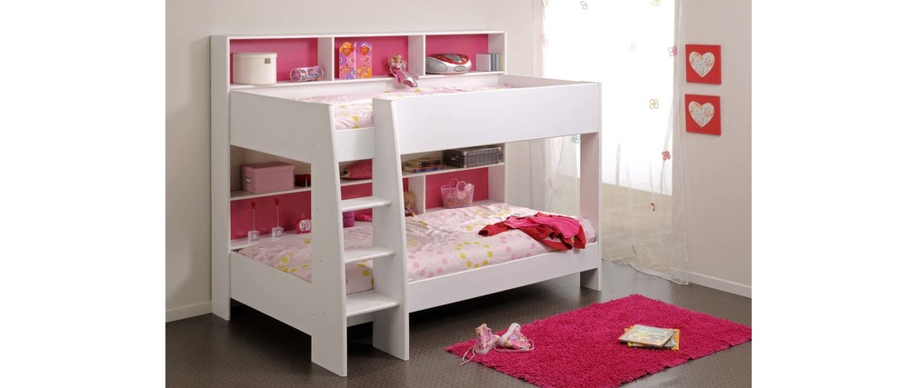 Lit superpos fille blanc et rose aria miliboo - Lits superposes blancs ...
