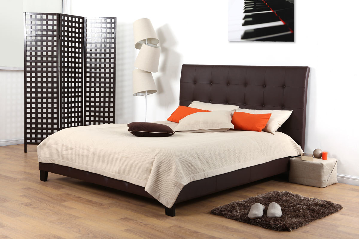 lit wesley deux places 160 200 cacao miliboo. Black Bedroom Furniture Sets. Home Design Ideas