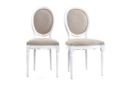 Lot de 2 chaises baroque Louis XVI blanc MEDAILLON