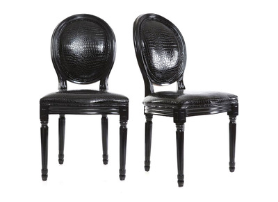Lot de 2 chaises baroque Louis XVI noir MEDAILLON
