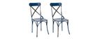 Lot de 2 chaises bistrot industrielles métal bleu COFFEE